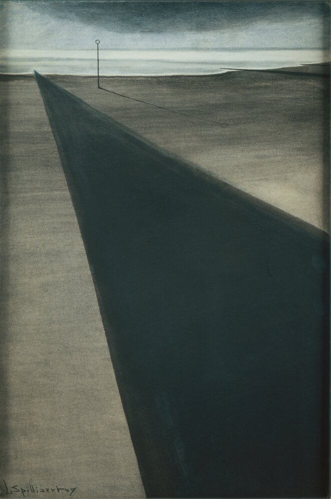 Léon Spilliaert (1881 - 1946) Brise-lames au poteau 1909 Lavis d'encre de Chine, pinceau, fusain et crayon de couleur sur papier 75 x 50 cm © Bruxelles, Belfius Art Collection Belfius Art Collection, Photo Frank Michta