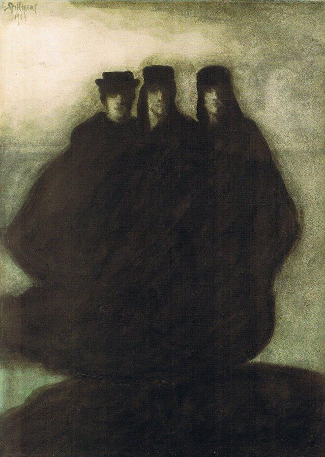 Léon Spilliaert (1881 - 1946) Trois personnages 1904 Encre de Chine, lavis, pinceau, plume et crayon de couleur sur papier marouflé 51,7 x 37,8 cm Bruxelles musées royaux des beau-arts de Belgique © MRBAB, Bruxelles / Photo : J. Geleyns - Art Photography