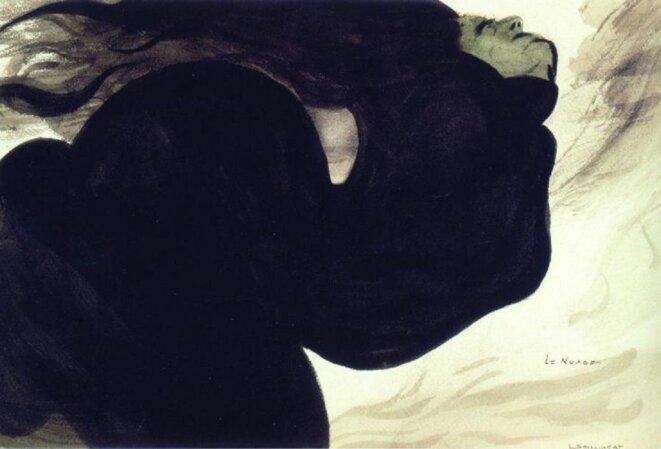 Léon Spilliaert (1881 - 1946) Le Nuage vers 1902 Mine graphite, lavis d'encre de Chine, pinceau, plume et pinceau sur papier H. 25,3 ; L. 37,2 cm Collection Luc De Vleminck © Guy Braeckman / Ludion Publishers