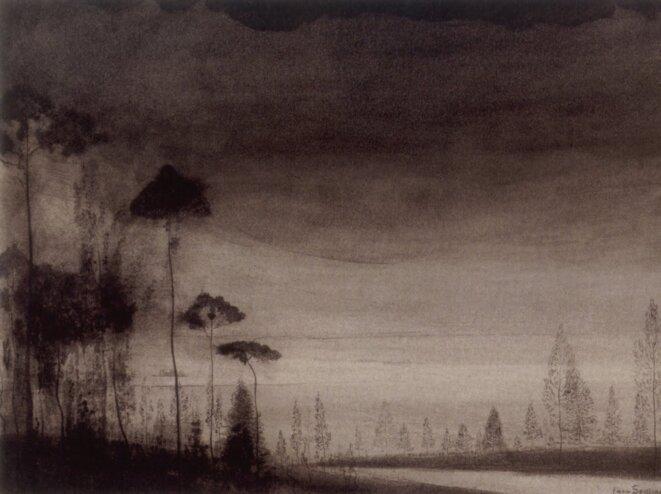 Léon Spilliaert (1881 - 1946) Paysage aux arbres élancés vers 1900-02 Lavis d'encre de Chine, pinceau, plume et crayon Conté sur papier 25,9 x 35,8 cm Collection particulière © Ludion Publishers