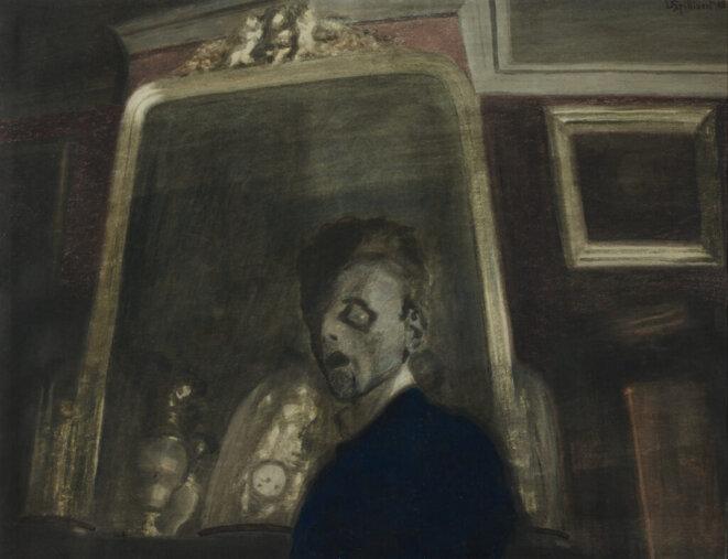 Léon Spilliaert (1881 - 1946) Autoportrait au miroir 1908 Lavis d'encre de Chine, pinceau, aquarelle et crayon de couleur sur papier H. 48,5 ; L. 63,1 cm Ostende, Mu. ZEE © Mu. ZEE / Photo : Hugo Maertens