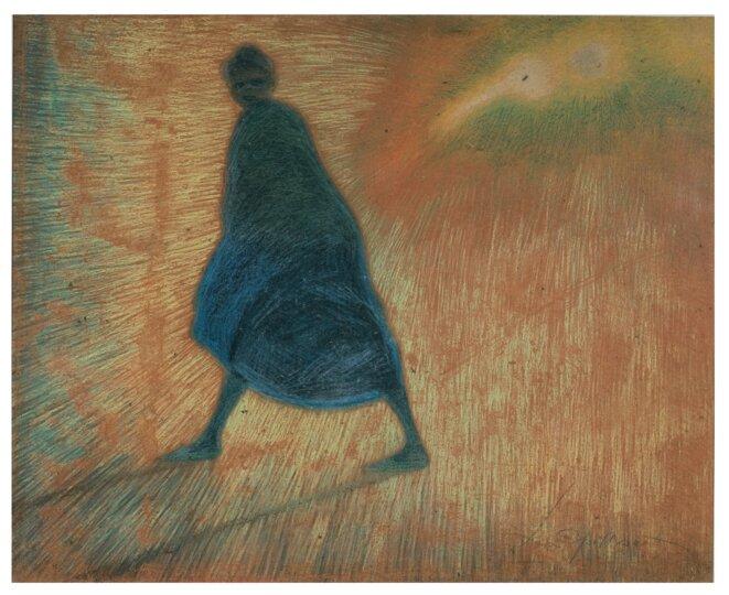 Léon Spilliaert (1881 - 1946) Soirée d'octobre 1912 Encre de Chine, pinceau, crayon de couleur, craie de couleur et pastel sur carton 70,4 x 88,2 cm Collection privée © droits réservés