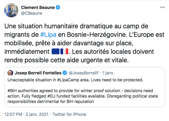 Le tweet de Clément Beaune, secrétaire d'Etat français aux Affaires européennes. © @CBeaune