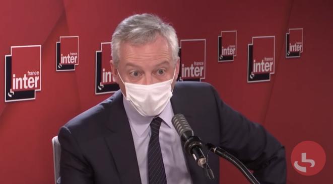 Le ministre de l'économie, Bruno Le Maire, lors de la matinale de France Inter le 11 janvier 2021. © DR / Capture d'écran