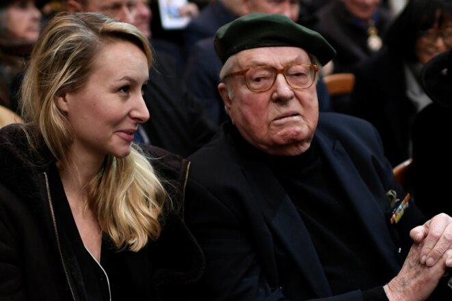 Marion Maréchal et Jean-Marie Le Pen aux obsèques de Roger Holeindre à Paris, le 6 février 2020. © Stéphane de Sakutin / AFP