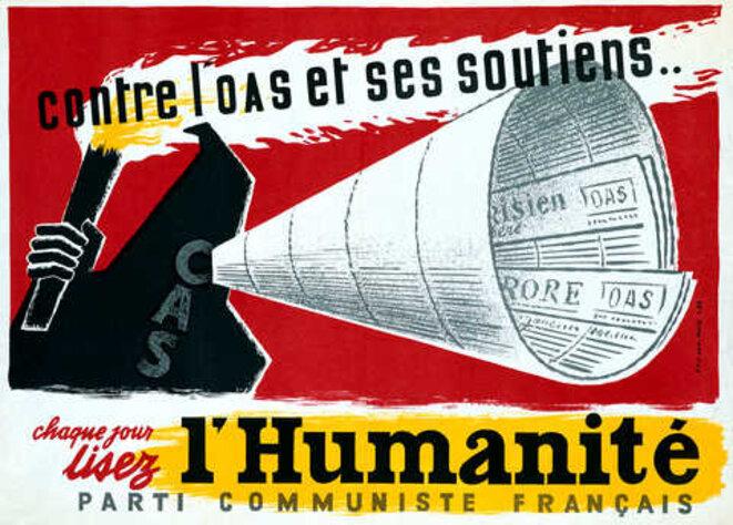 Annexe 4 : Affiche du PCF pour la lecture du journal l'Humanité durant la guerre d'Algérie. © PCF