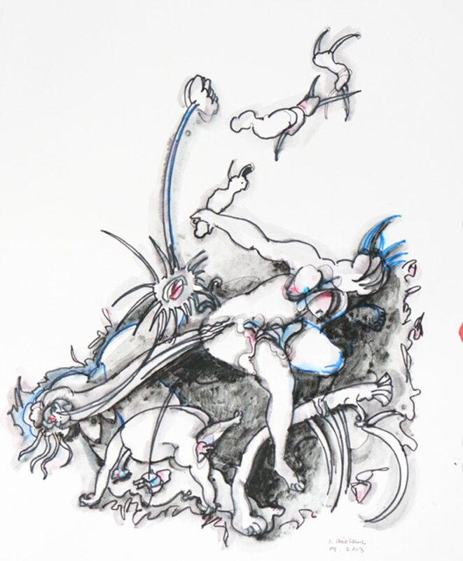 Ernest Breleur - sans titre - série L'origine du monde (feutre sur papier, 32x40 cm, 2013) Courtoisie Maëlle Galerie © Jean-Luc de Laguarigue