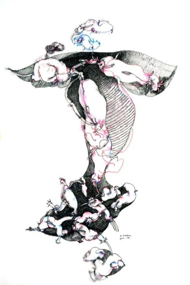 Ernest Breleur - sans titre - série L'origine du monde (feutre sur papier, 110x70 cm, 2013) Courtoisie Maëlle Galerie © Jean-Luc de Laguarigue