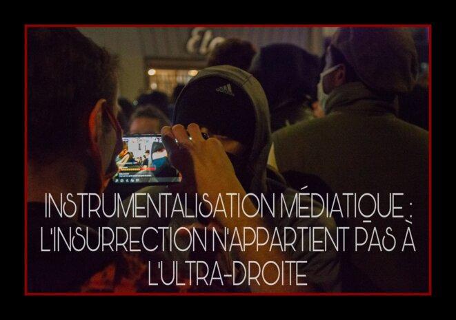 28.12.20 Un manifestant interviewé en live lors d'une manifestation contre la loi sécurité globale à Paris © Palice Jékowski
