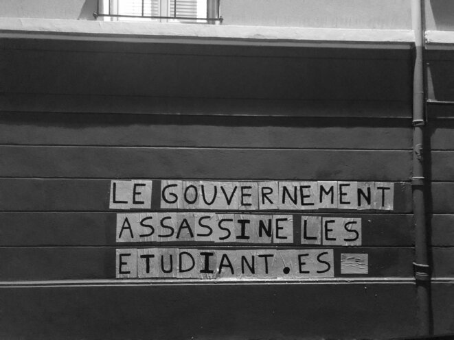 """Le gouvernement assassine les étudiant·es"", Collage Féministe de Lyon © CollagesLyon"