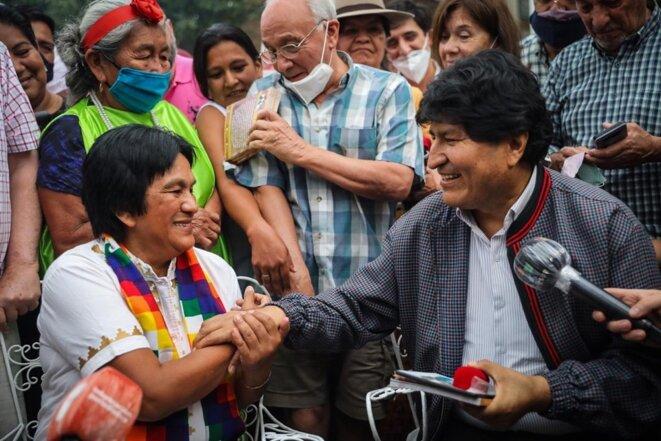 Milagro Sala avec Evo Morales, ex président de la Bolivie © Pagina12
