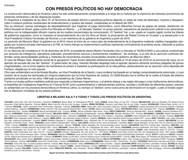 Lettre demandant la libération des prisonniers politiques en Argentine © ACAF, Pagina 12