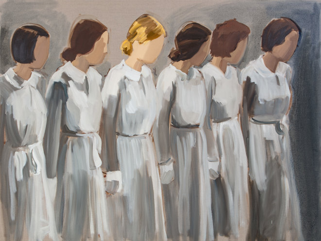 Gideon Rubin Six Girls in Uniform 2019 Huile sur toile de lin / Oil on linen 180 x 240 cm / 70 3⁄4 x 94 1⁄2 in © Gideon Rubin Courtesy of Galerie Karsten Greve Köln Paris St. Moritz Photo : Richard Ivey