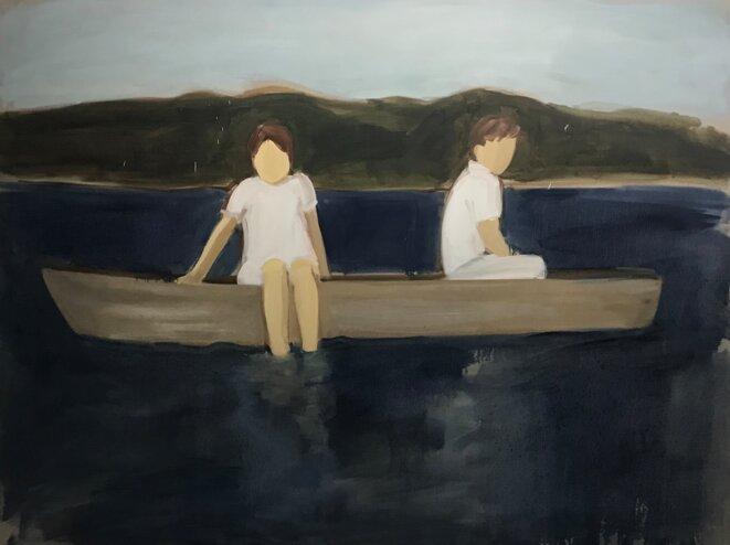 Gideon Rubin Untitled (Two in a Boat) 77 x 102 cm Oil on linen 2019 © Gideon Rubin Courtesy of Galerie Karsten Greve Köln Paris St. Moritz Photo : Guillaume Lasserre