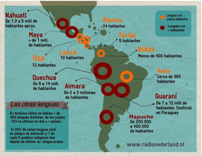 Les autres langues : en Amérique Latine, on parle plus de 400 langues disctinctes dont 103 sont utilisées dans 2 pays ou plus. 26% de ces langues sont en train de disparaître et 1 peuple indigène sur 5 ne parle plus sa propre langue.