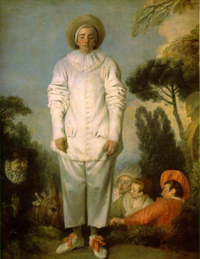 Jean-Antoine Watteau, Pierrot, dit autrefois Gilles, 1718-1719  Huile sur toile • 184,5 × 149 cm • Coll. musée du Louvre, Paris • © Bridgeman Images