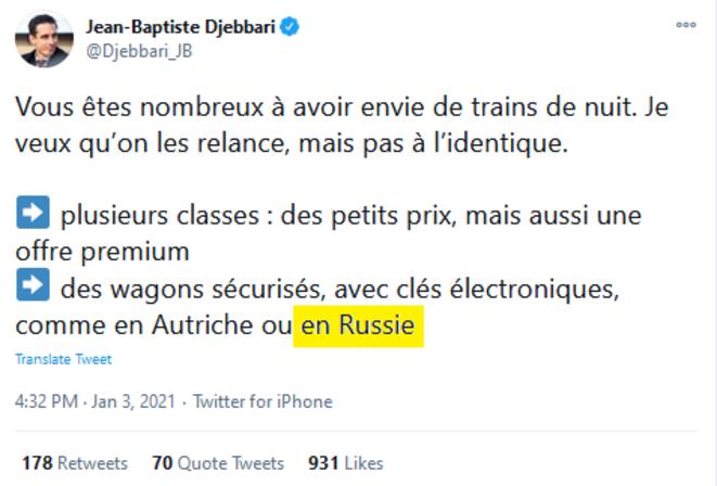 le 3 janvier 2021, le ministre français délégué aux transports rappelle les qualités du matériel russe et autrichienne sur Twitter