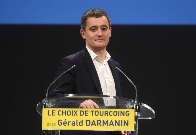 Gérald Darmanin à Tourcoing, lors des élections municipales, le 13 février 2020. © FRANCOIS LO PRESTI / AFP