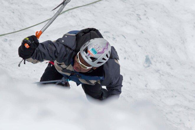 Un stagiaire en plein effort dans l'escalade © Thibaut Durand / Hans Lucas