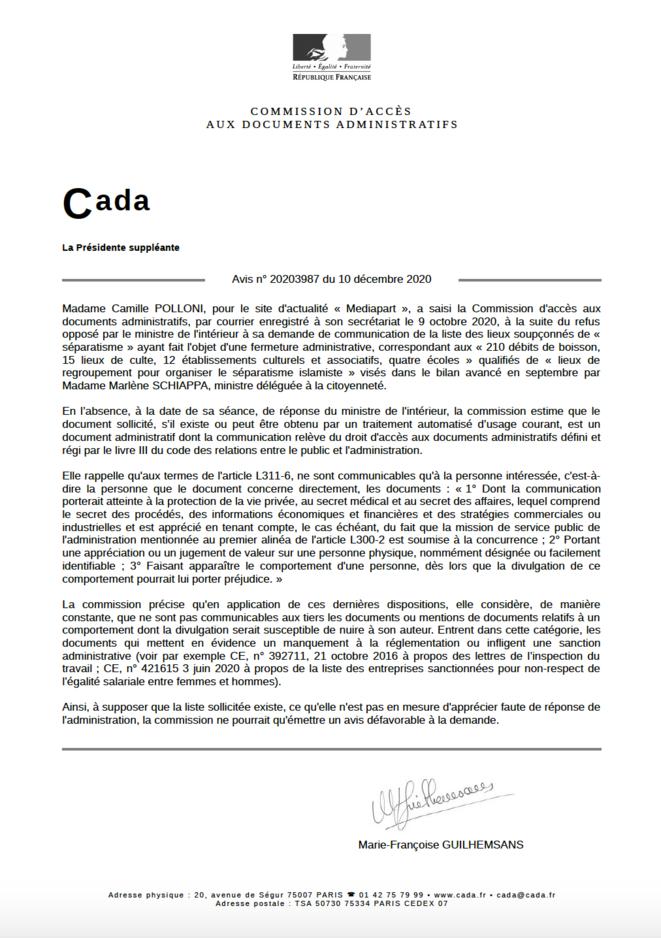 Avis de la Cada, 10 décembre 2020. © CP / Mediapart