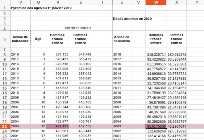 Fig.11 - Nombre de décès attendus en 2019 sur la base de la mortalité de 2018 © Enzo Lolo d'après les données de l'INSEE