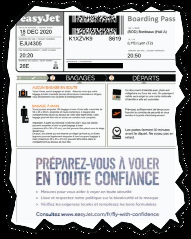 Billet d'avion de Gaëlle* pour se rendre à Lyon. © Document Mediapart