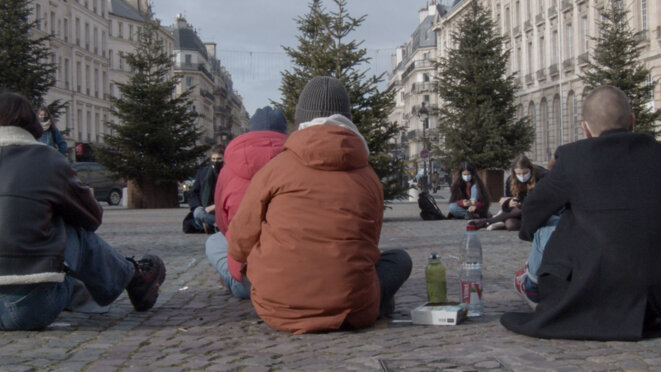 Sit-in place du Panthéon, lundi 18 janvier 2021 © Noox