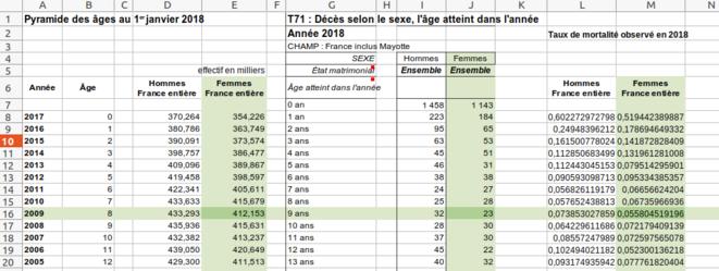 Fig.8 - Taux de mortalité par sexe et par âge © Enzo Lolo d'après les données de l'INSEE