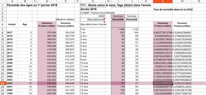 Fig.9 - Taux de mortalité par sexe et par âge © Enzo Lolo d'après les données de l'INSEE