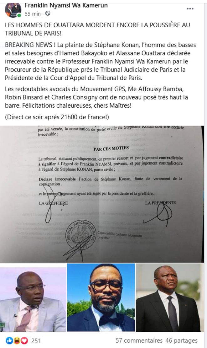 France: un homme de Hamed Bakayoko perd son procès contre le Conseiller de Guillaume Soro