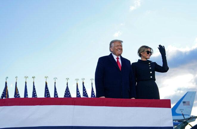 Donald et Melania Trump le 20 janvier, en partance pour la Floride. © ALEX EDELMAN / AFP
