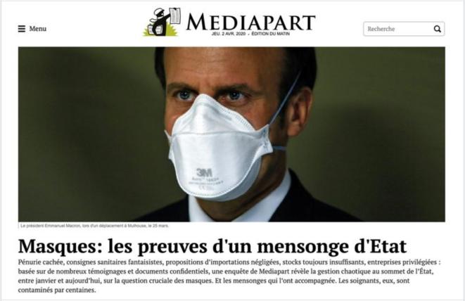 """""""Mégablock"""" de Mediapart sur la gestion des masques du 2 avril 2020."""