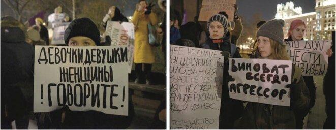 """Textes des pancartes portées par les manifestantes """"Filles, jeunes femmes, femmes, parlez !"""" et """"Le coupable est toujours l'agresseur"""" © RTVi"""
