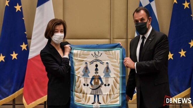 Le ministre grec de la défense, Nikolaos Panagiotopoulos et la ministre française des armées, Florence Parly © 2021 D.R./DBNEWS