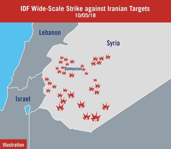 Représailles israéliennes à une attaque le 10 mai 2018 © The Times of Israël
