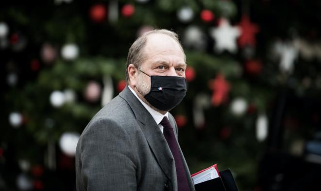 Eric Dupond Moretti à la sortie du conseil des ministres du 9 décembre 2020, à l'Elysee. © Arthur Nicholas Orchard / Hans Lucas via AFP
