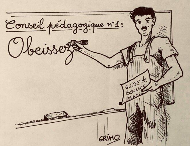 Dessin 6: le conseil pédagogique © Frédéric Grimaud