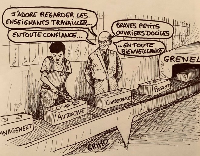 Dessin 7: le Grenelle de l'éducation © Frédéric Grimaud