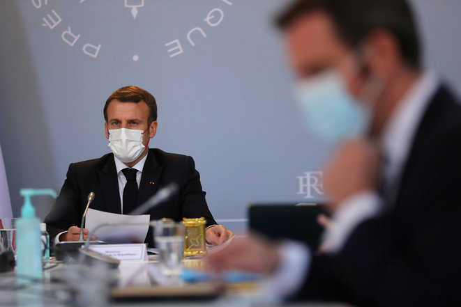 Emmanuel Macron en Conseil de défense, en novembre 2020. © Thibault Camus/Pool/AFP