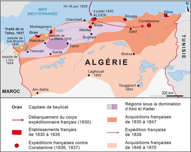 Carte de la conquête de l'Algérie entre 1830 et 1870 © Blogisek-histoire