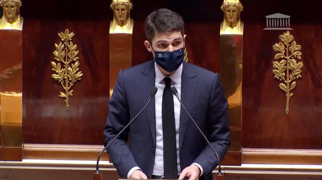 Aurélien Pradié, le secrétaire général de LR, lors d'un débat sur la pauvreté à l'Assemblée nationale, en janvier 2020. © Capture d'écran / AN
