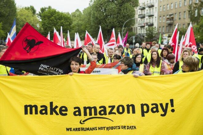 Manifestation en avril 2018 à Berlin avec notamment des employés Amazon de différents pays européens. © Emmanuele Contini/NurPhoto/AFP