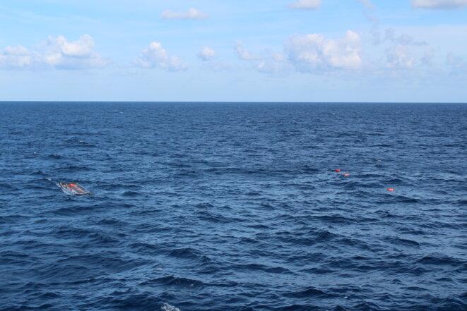 L'embarcation où se trouvait Germaine après son interception par les garde-côtes libyens. © NB