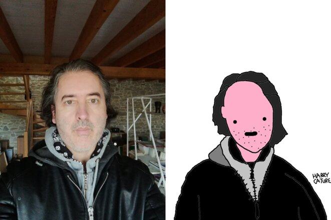 Christophe Gervot par lui-même (photo) et par Harry Cature (caricature) © Christophe Gervot et Harry Cature