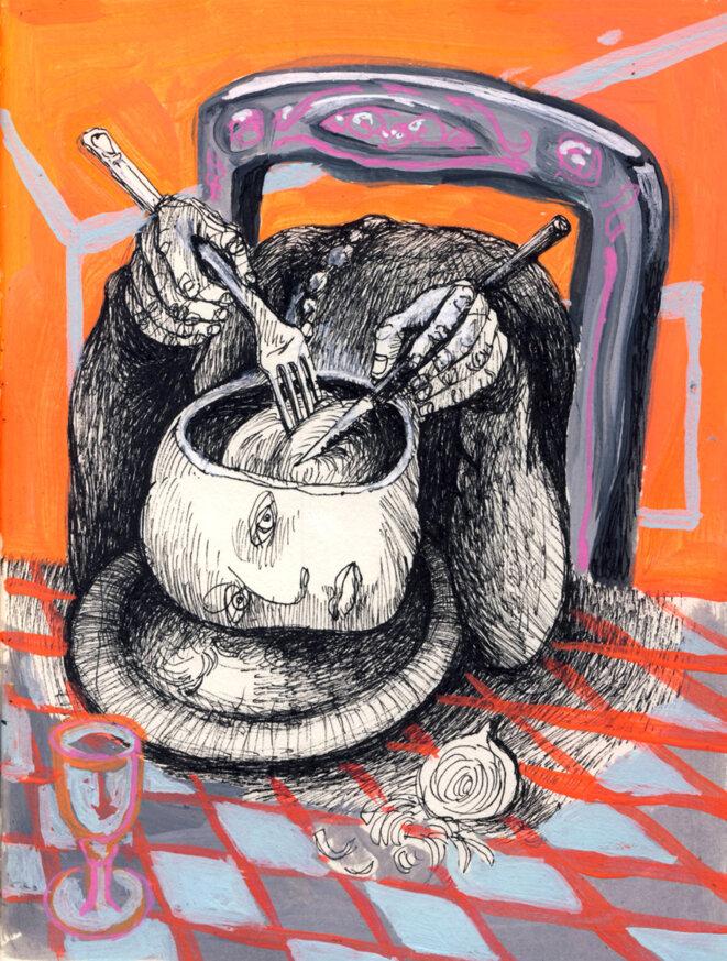 Cuite à point et aux petits oignons, elle déguste... © Béa Boubé