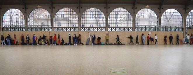 Yves-Noël Genod, Sur le Carreau, répétitions, Le Carreau du Temple, Paris, 2021 © Photo : César Veyssié