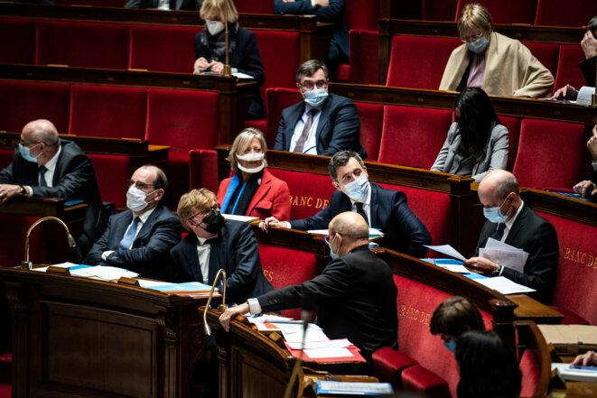 Gérald Darmanin à l'Assemblée nationale, le 26 janvier 2021. © Xose Bouzas / Hans Lucas via AFP