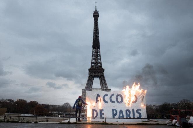 Action d'Extinction Rebellion, le 12 décembre. © Frédéric Migeon / Hans Lucas via AFP