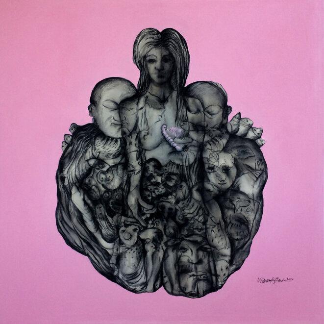 Wissem Ben Hassine, Rêves, technique mixte sur toile, 130 x 130 cm, décembre 2020