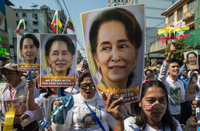 Photo d'archive d'une manifestation de soutien à Aung San Suu Kyi en 2019. © Sai Aung Main / AFP